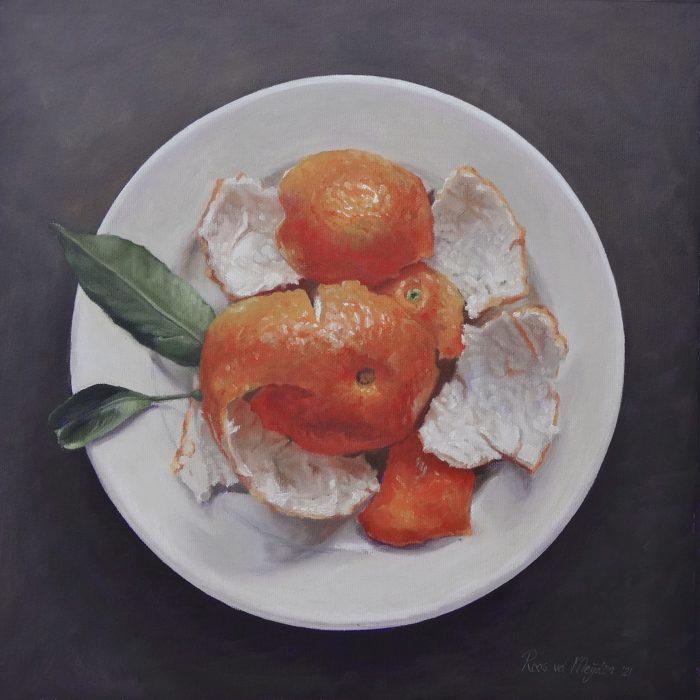 schilderij mandarijnen op bord © Roos van der Meijden