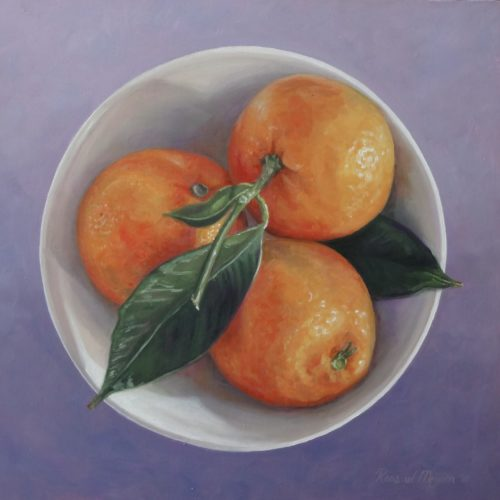 schilderij mandarijnen in kom © Roos van der Meijden