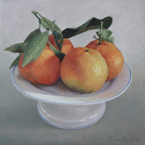 schilderij mandarijnen op schaal© Roos van der Meijden