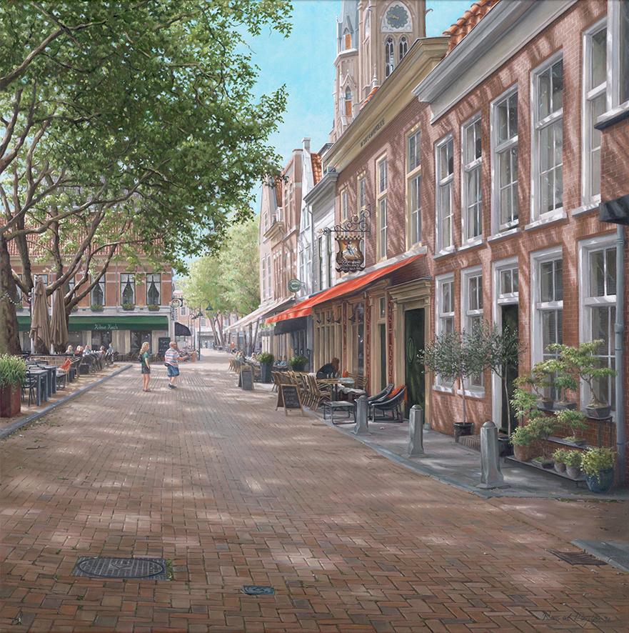 Beestenmarkt Delft schilderij © Roos van der Meijden
